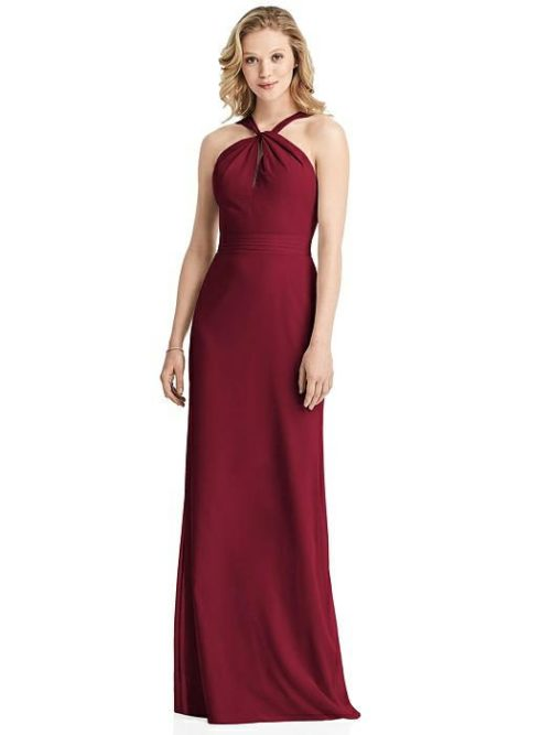 Twist Halter Dress by Jenny Packham - Burgundy