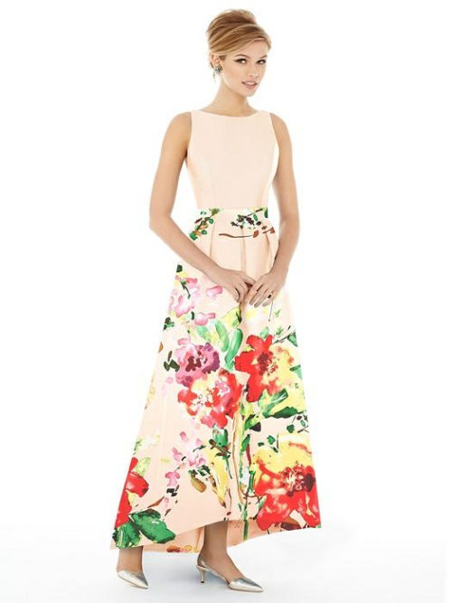 Sateen Twill Dress by Alfred Sung - Blush Bouquet
