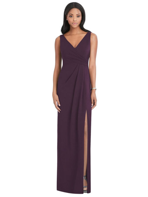 After Six Stretch Crepe Gown by Dessy - Aubergine