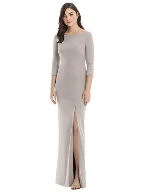 After Six 3/4 Sleeve Gown by Dessy - Taupe