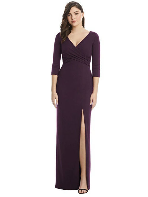 After Six 3/4 Sleeve Gown by Dessy - Aubergine