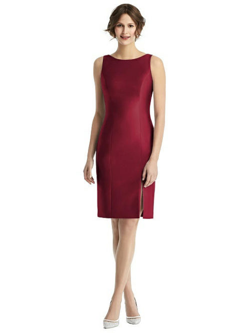 Open Back with Bow Dress by Alfred Sung - Burgundy