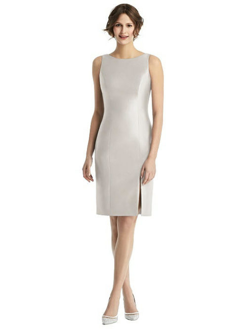 Open Back with Bow Dress by Alfred Sung - Oyster