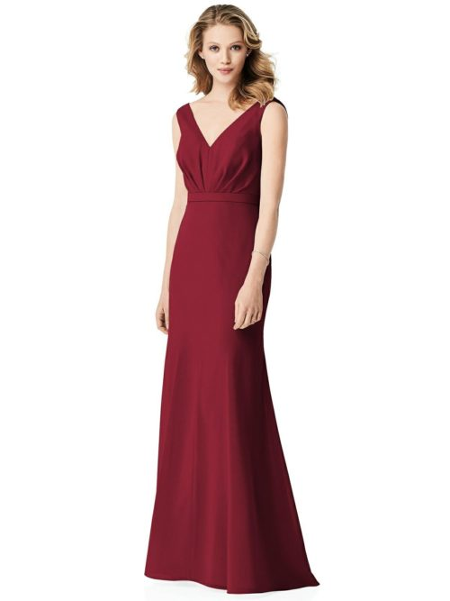 Cowl Back Chiffon Dress by Jenny Packham - Claret