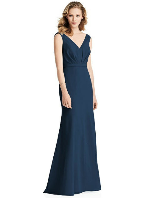 Cowl Back Chiffon Dress by Jenny Packham - Sofia Blue