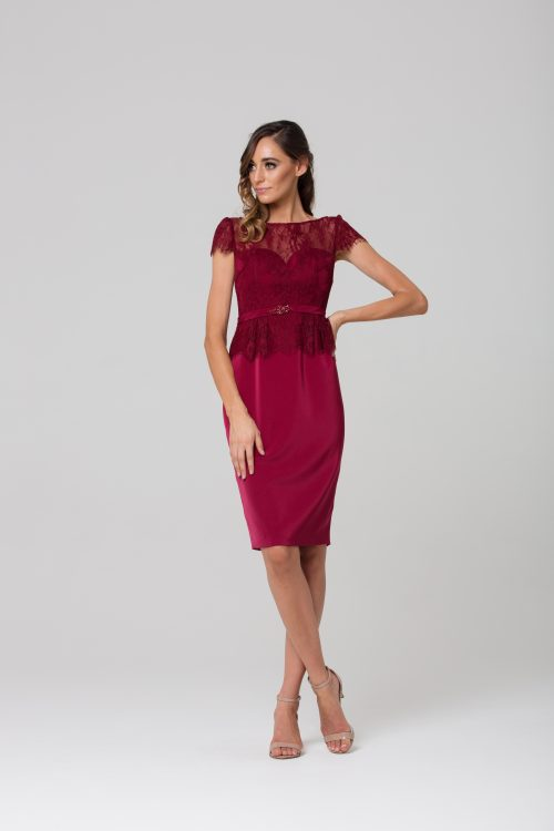 Angelica Cocktail Dress by Tania Olsen - Wine