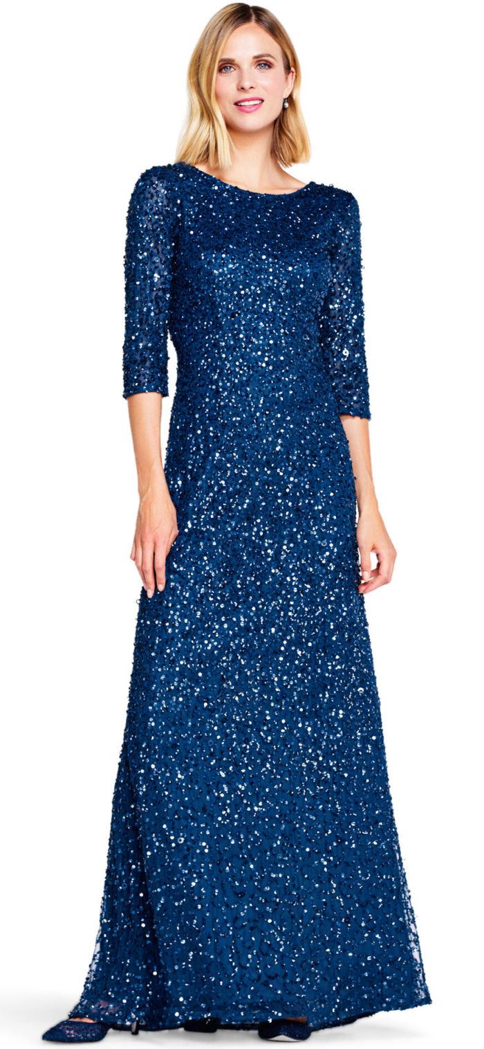 Scoop Back 3/4 Sleeve Sequin Beaded Gown by Adrianna Papell - Deep Blue