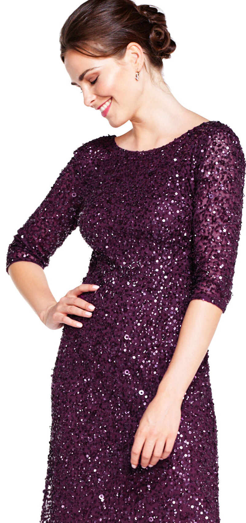 Scoop Back 3/4 Sleeve Sequin Beaded Gown by Adrianna Papell - Cabernet
