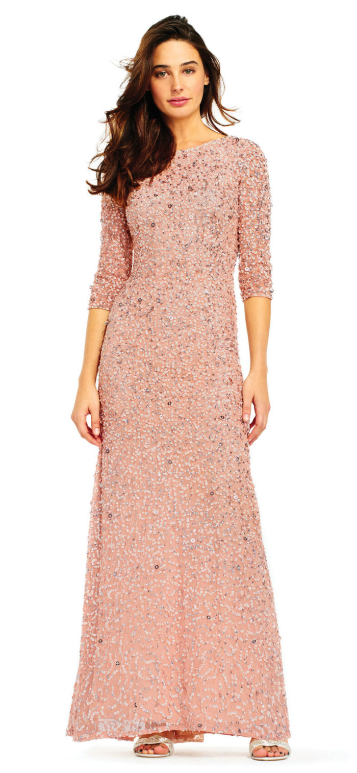 Scoop Back 3/4 Sleeve Sequin Beaded Gown by Adrianna Papell - Blush