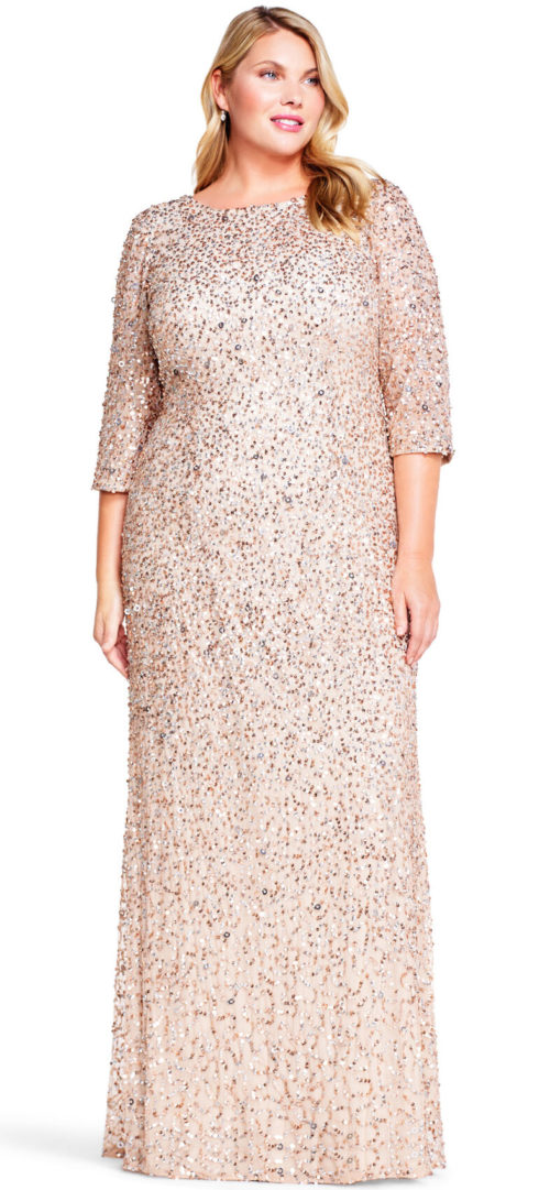 Scoop Back 3/4 Sleeve Sequin Beaded Gown by Adrianna Papell - Champagne/Silver