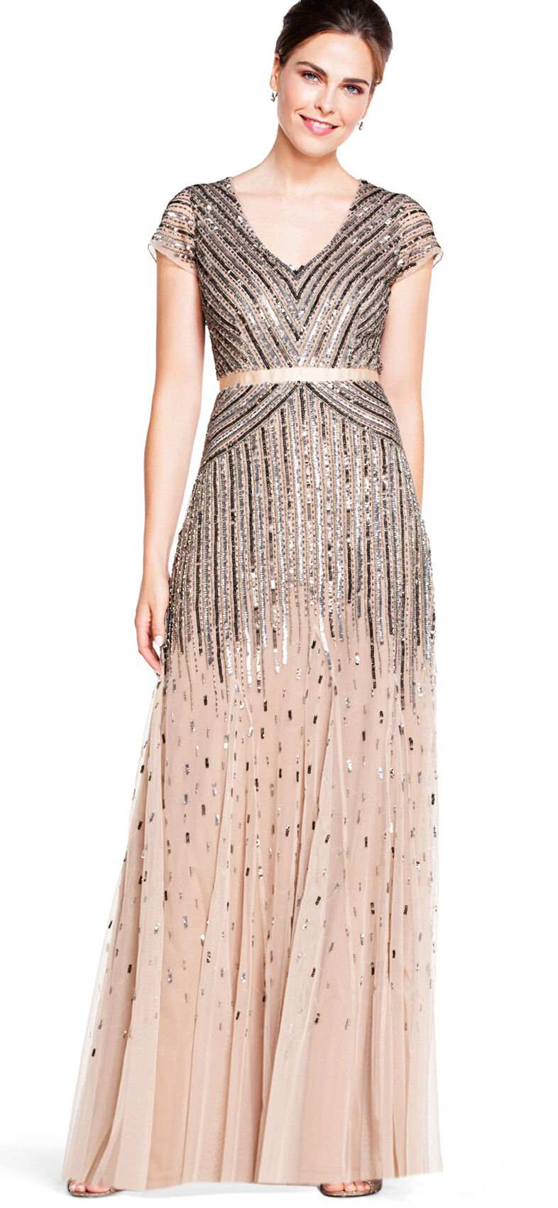 Beaded V-Neck Gown by Adrianna Papell - Nude - Mothers Only
