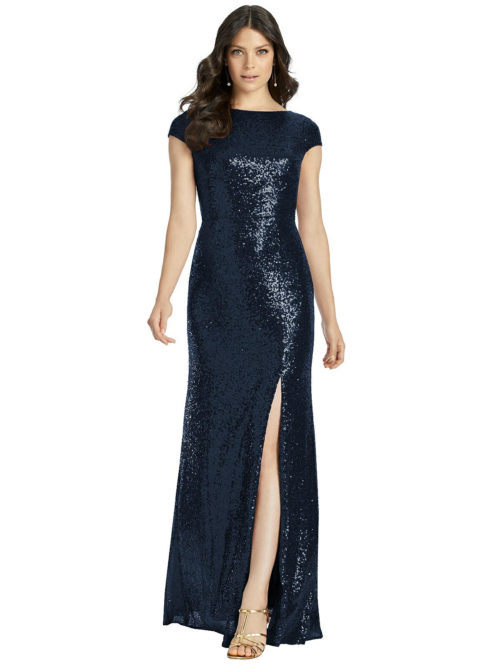 Open Cowl Back Sequin Gown from Dessy - Midnight