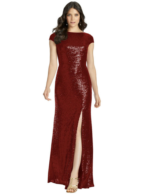 Open Cowl Back Sequin Gown from Dessy - Burgundy