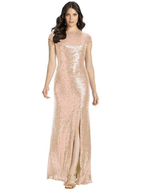 Open Cowl Back Sequin Gown from Dessy - Rose Gold