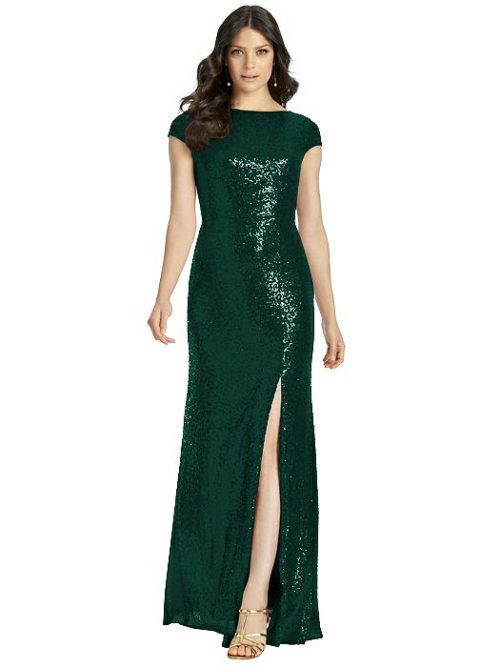 Open Cowl Back Sequin Gown from Dessy - Hunter