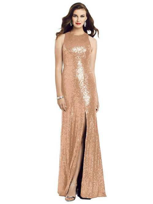 Sleeveless Sequin Gown from Dessy - Copper Rose