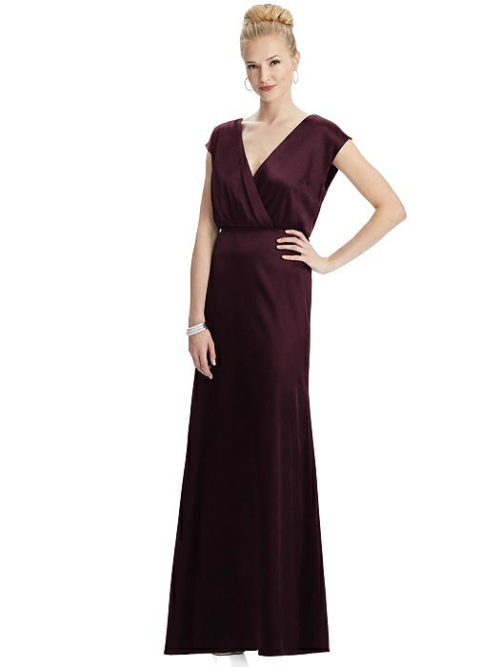 Faux Wrap Blouson Satin Gown by Dessy - Bordeaux