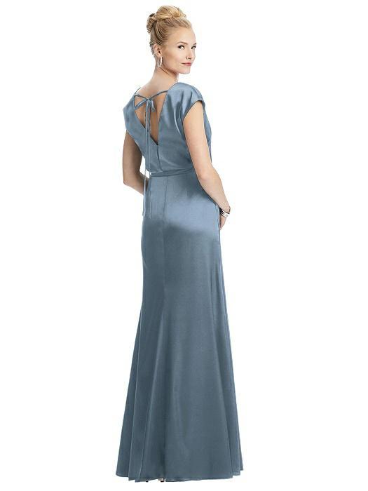 Faux Wrap Blouson Satin Gown by Dessy - Slate