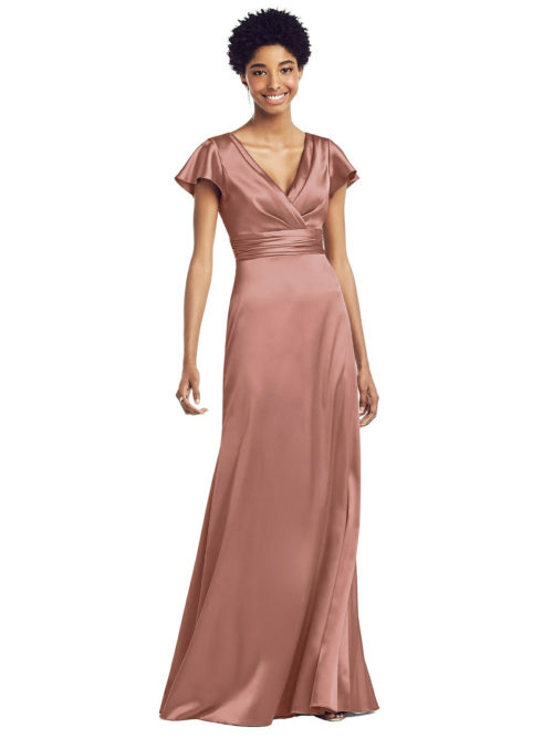 Draped Wrap Stretch Satin Gown by Dessy - Desert Rose