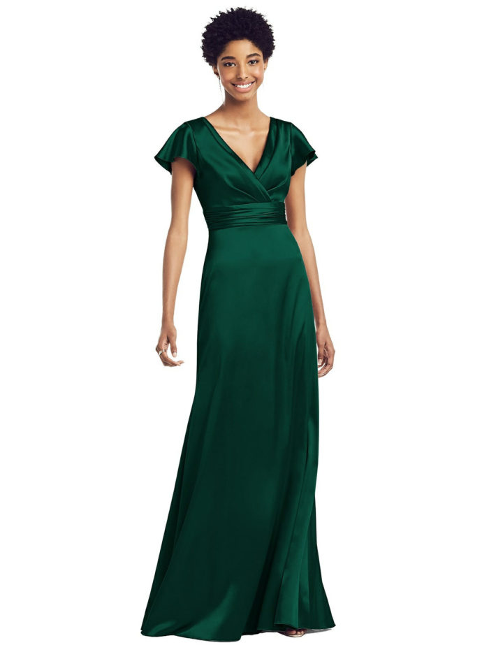 Draped Wrap Stretch Satin Gown by Dessy - Hunter Green