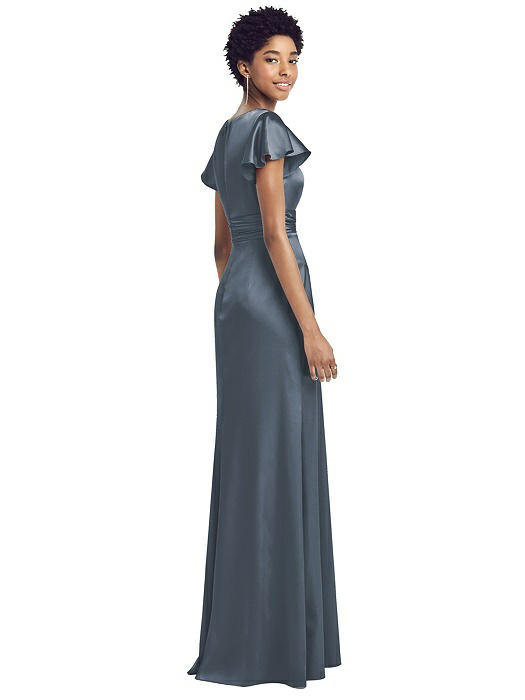 Draped Wrap Stretch Satin Gown by Dessy - Silverstone