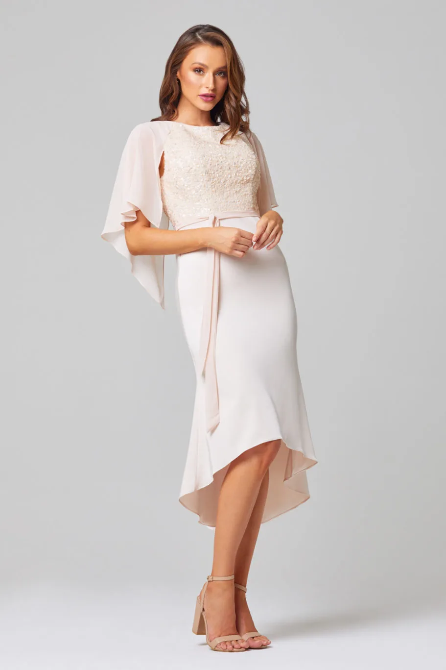 Kate Cocktail Dress by Tania Olsen - Pearl Pink