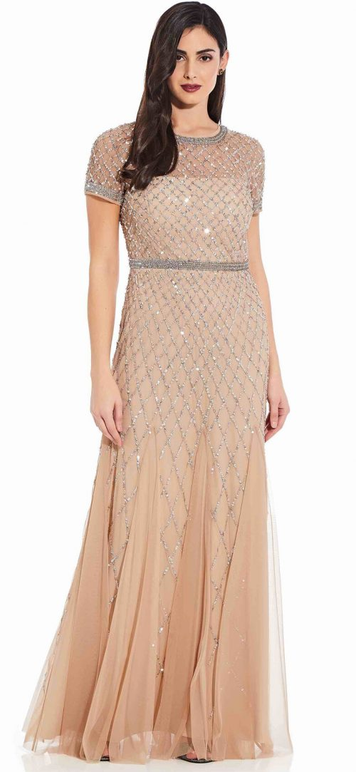 Cap Sleeve Beaded Gown by Adrianna Papell - Champagne
