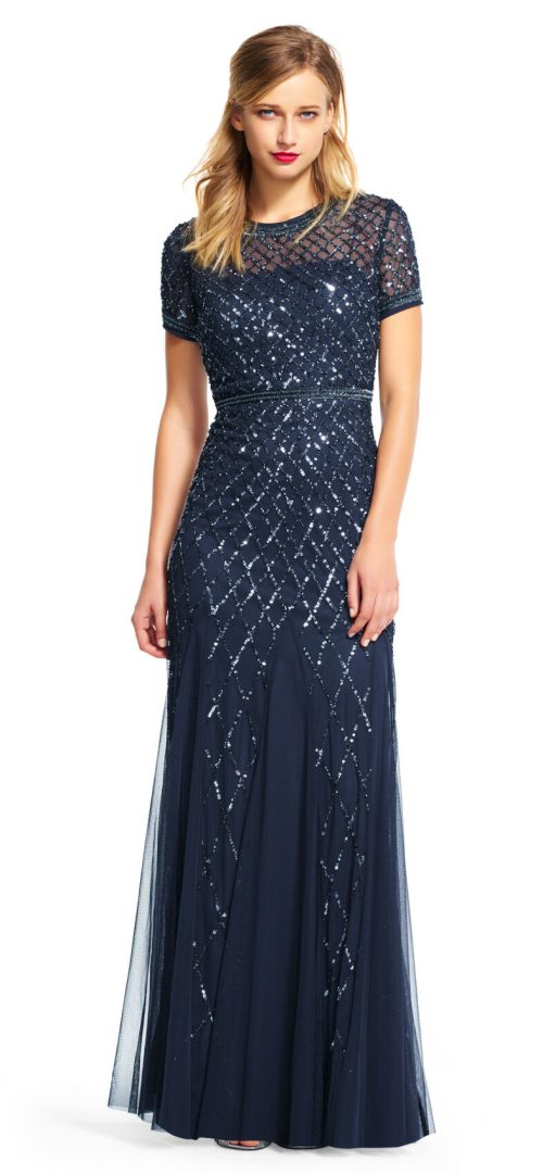 Cap Sleeve Beaded Gown by Adrianna Papell - Navy
