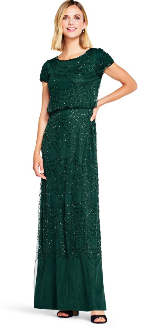 Art Deco Beaded Blouson Gown by Adrianna Papell - Dusty Emerald