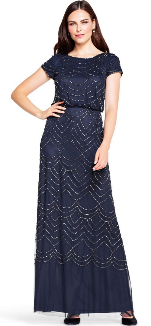 Art Deco Beaded Blouson Gown by Adrianna Papell - Navy