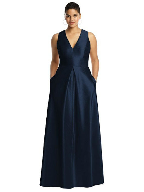 Sleeveless Dupion Dress with Pockets by Alfred Sung - Midnight