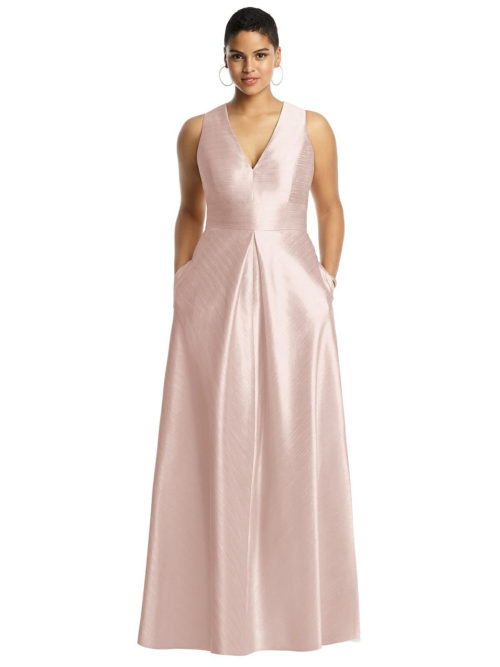 Sleeveless Dupion Dress with Pockets by Alfred Sung - Pearl Pink