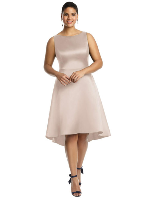 Bateau Neck Satin High Low Cocktail Dress by Alfred Sung - Cameo