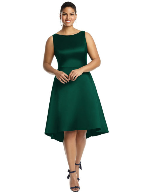 Bateau Neck Satin High Low Cocktail Dress by Alfred Sung - Hunter