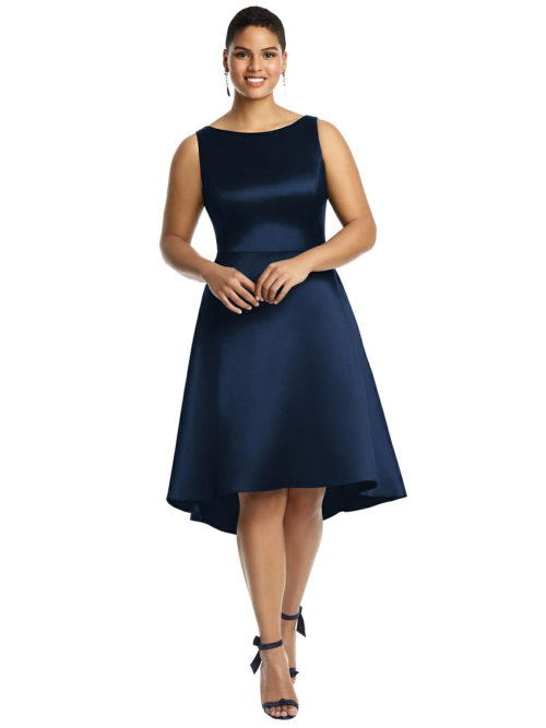 Bateau Neck Satin High Low Cocktail Dress by Alfred Sung - Midnight