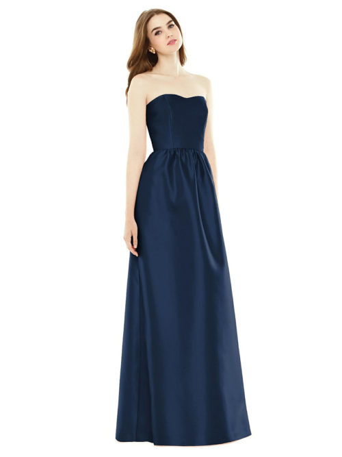 DISCONTINUED TBYB Alfred Sung Strapless Gown - Midnight Blue