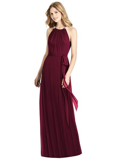 Beaded Shirred Halter Dress by Jenny Packham - Cabernet