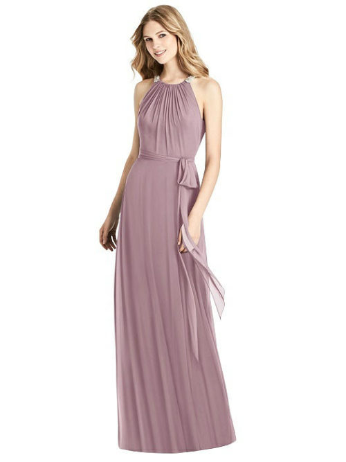 Beaded Shirred Halter Dress by Jenny Packham - Dusty Rose