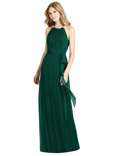 Beaded Shirred Halter Dress by Jenny Packham - Hunter