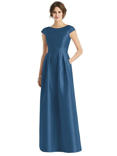 Cap Sleeve Pleated Skirt Dress by Alfred Sung - Dusk Blue
