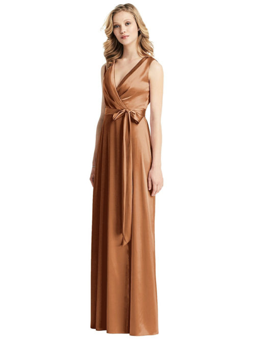Sleeveless Wrap Stretch Satin Gown by Dessy - Toffee