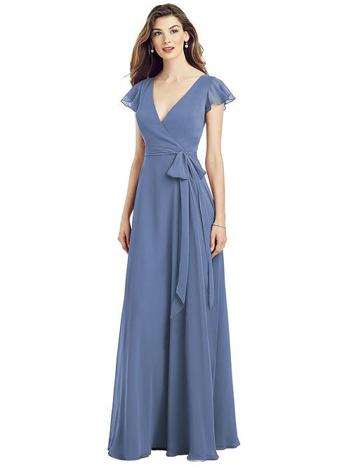 Flutter Sleeve Wrap Chiffon Dress by Dessy - Larkspur