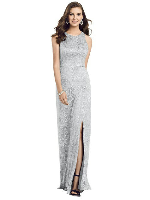 Scoop Neck Metallic Gown from Dessy - Silver