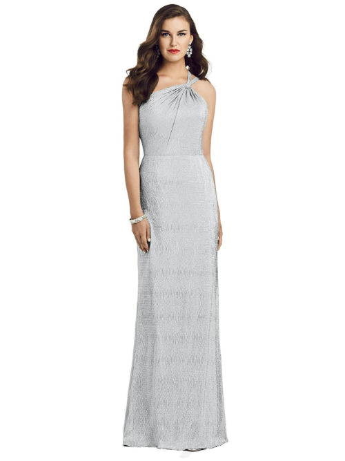 One-Shoulder Twist Metallic Gown from Dessy - Silver