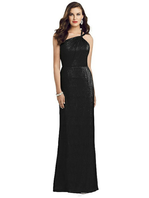 One-Shoulder Twist Metallic Gown from Dessy - Black
