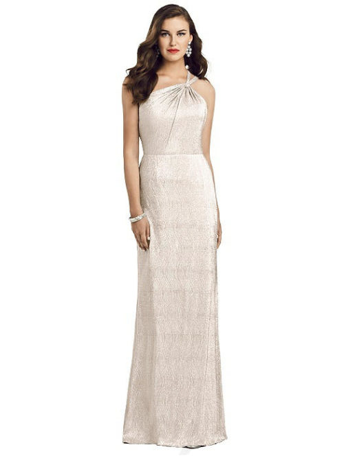 One-Shoulder Twist Metallic Gown from Dessy - Rose Gold