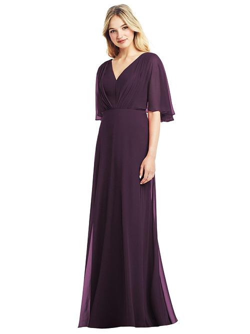 Flutter Sleeve Chiffon Dress by Jenny Packham - Aubergine