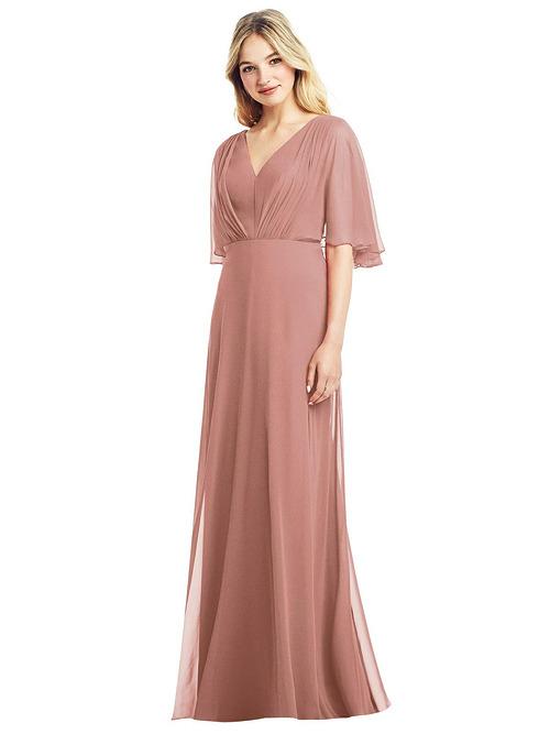 Flutter Sleeve Chiffon Dress by Jenny Packham - Desert Rose