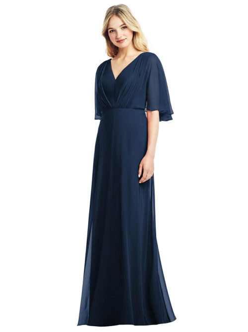 Flutter Sleeve Chiffon Dress by Jenny Packham - Midnight