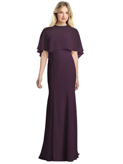 Jewel-Trimmed Capelet Gown by Jenny Packham - Aubergine